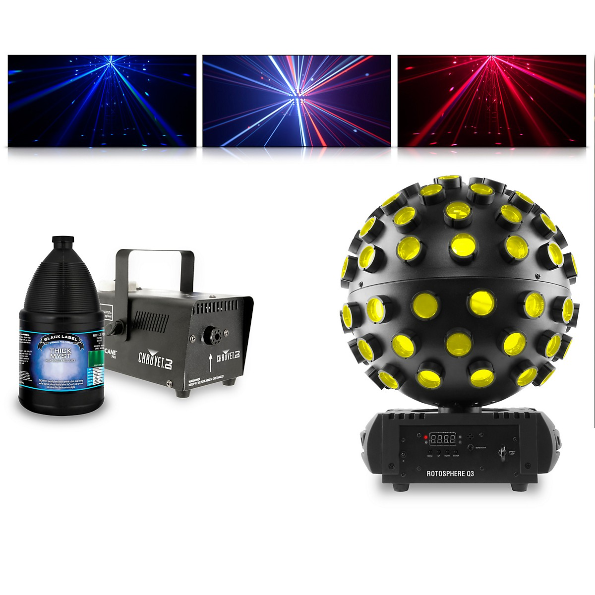 CHAUVET DJ Rotosphere Q3 with Hurricane 700 Fog Machine and Juice