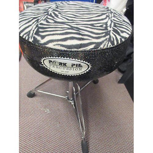 Pork Pie Round Top Zebra/Black Sparkle Drum Throne