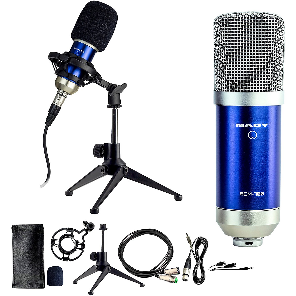 Nady SCM-700 8-Piece Studio Condenser Microphone Podcast Bundle