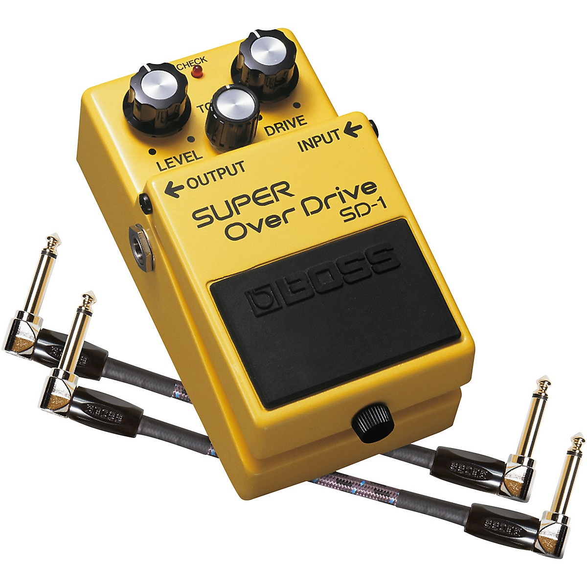 Boss SD-1 Super OverDrive Effects Pedal and Two 6-Inch Jumper Cables Bundle