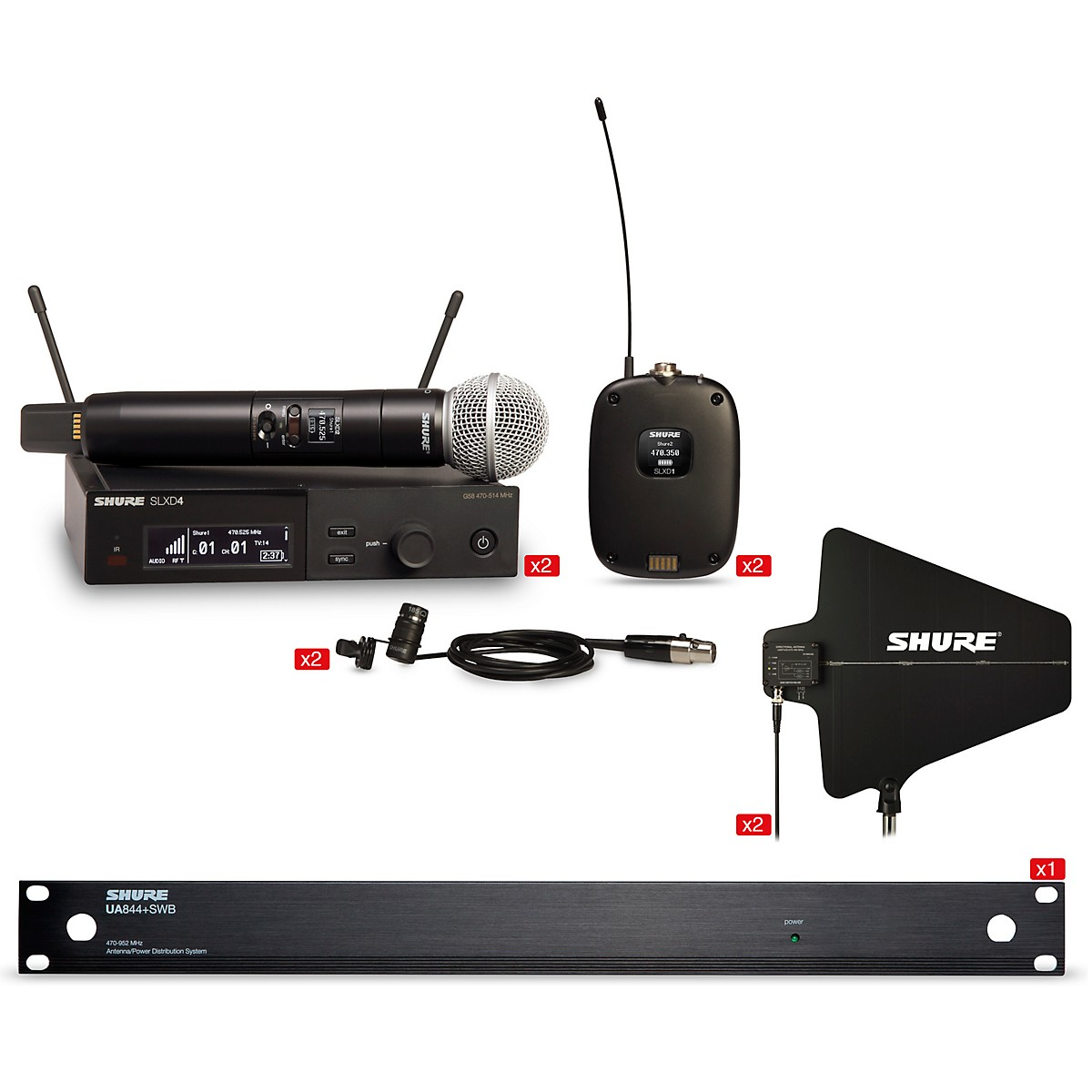 Shure SLXD Quad Combo Bundle With 2 Handheld and 2 Combo Systems With Antenna