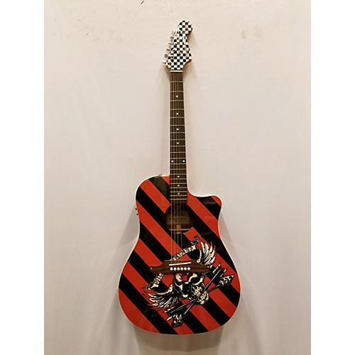 Used Fender Sonoran Acoustic Electric Guitar Black And Orange