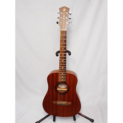 Used Luna Guitars Safari Tattoo 3 4 Size Acoustic Guitar