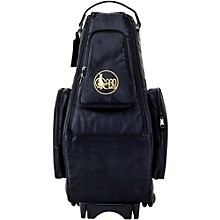 Saxophone Wheelie Bag in Synthetic with Leather Trim Fits 2 Altos or Alto/Soprano