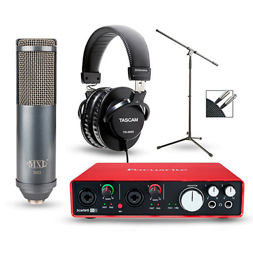 Focusrite Scarlett 6i6 Recording Package with R80 Ribbon Microphone and TH-200X Headphones