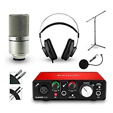 Focusrite Scarlett Solo Recording Bundle with MXL Mic and AKG Headphones
