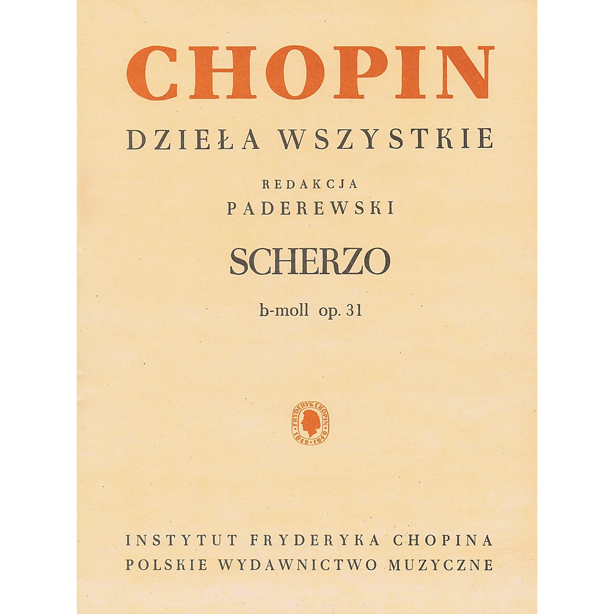PWM Scherzo in B Flat Minor for Piano PWM Softcover by Frederic Chopin Edited by Ignacy Jan Paderewski