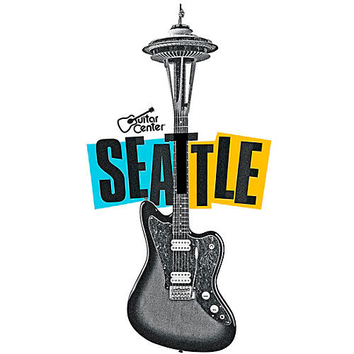 Guitar Center Seattle Guitar Needle Graphic Magnet