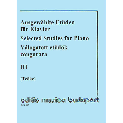 Editio Musica Budapest Selected Studies V3-pno EMB Series by Various
