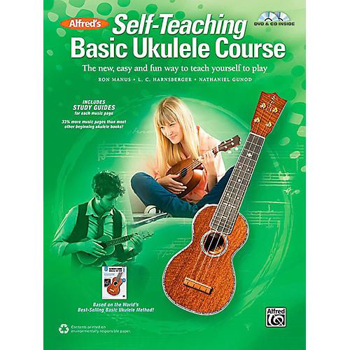 Alfred Self-Teaching Basic Ukulele Course Book, CD & DVD