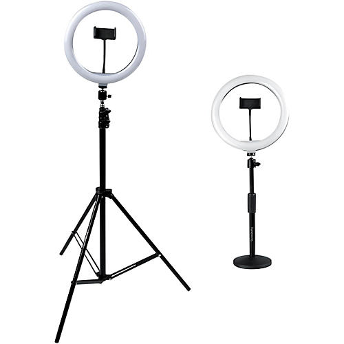 Gator Set of Two (2) Height-Adjustable Stands with Pivoting LED Ring Lights and Universal Phone Holders