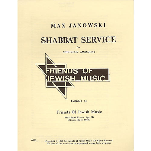 Transcontinental Music Shabbat Service For Saturday Morning SATB composed by Max Janowski