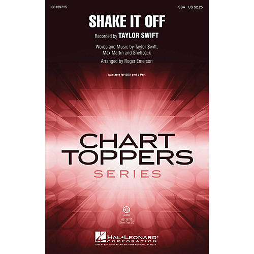 Hal Leonard Shake It Off ShowTrax CD by Taylor Swift Arranged by Roger Emerson