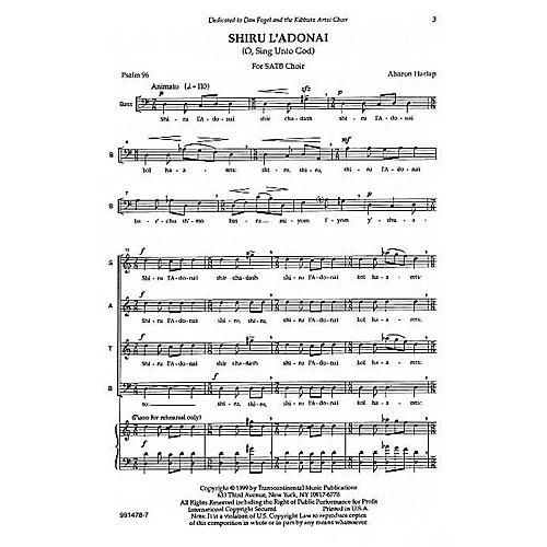 Transcontinental Music Shiru L'adonai (O Sing Unto God) SATB composed by Aahron Harlap