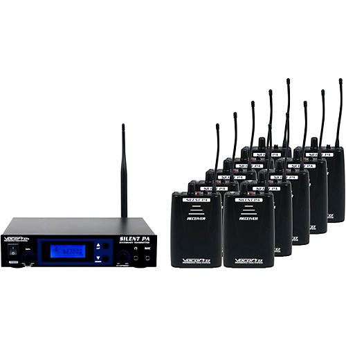 Vocopro SilentPA-SEMINAR10 16CH UHF Wireless Audio Broadcast System (Stationary Transmitter with ten bodypack receivers)