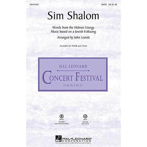 Hal Leonard Sim Shalom SATB arranged by John Leavitt