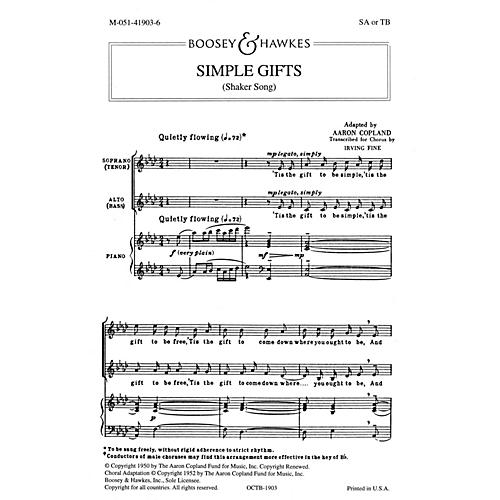 Boosey and Hawkes Simple Gifts (SA or TB and Piano) arranged by Irving Fine