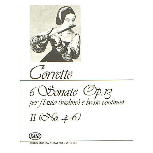 Editio Musica Budapest Six (6) Sonatas For Flute (violin) And Basso Continuo Op13 Volume 2 Nos 4-6 EMB Series