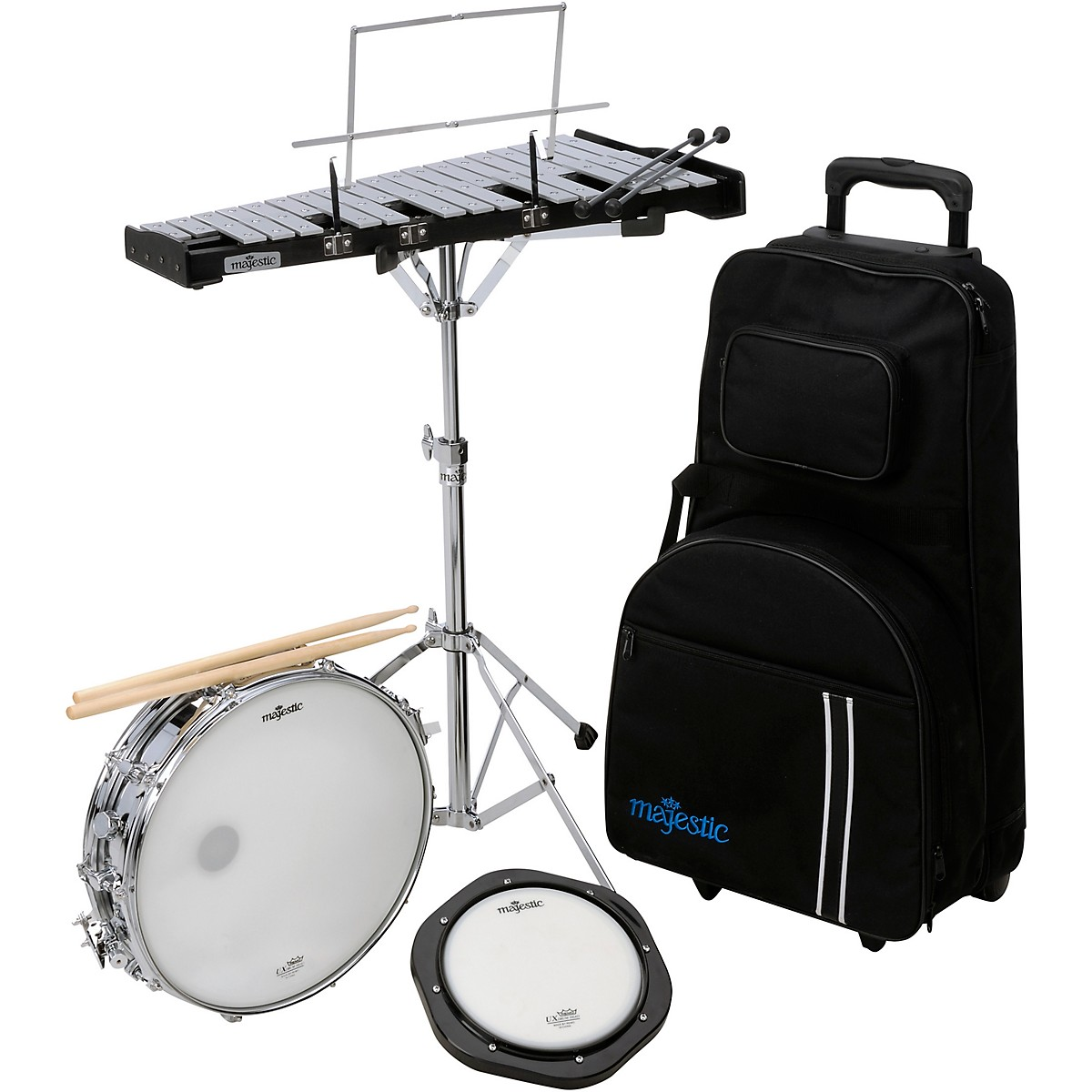 Majestic Snare Drum , Bell and Practice Pad Kit With Rolling Cart