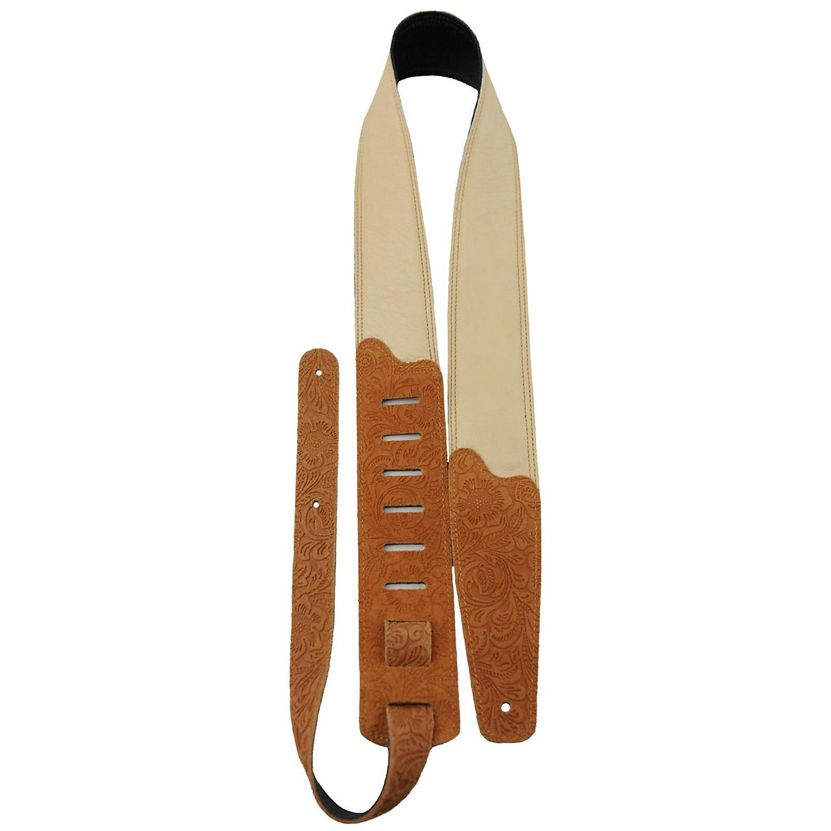 Perri's Soft Garment Leather Padded Embossed Floral Pattern Guitar Strap