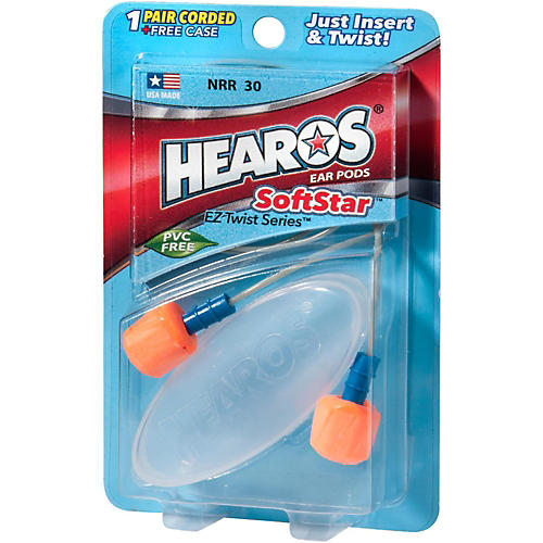 Hearos SoftStar EZ Twist - 1 Pair Corded With Case