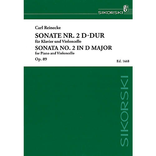 Sikorski Sonata No. 2 in D Major, Op. 89 (Piano and Violoncello) String Series Softcover Composed by Carl Reinecke