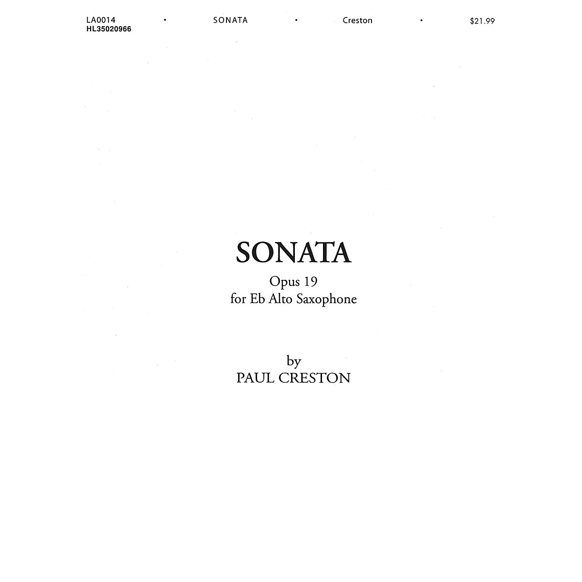 Shawnee Press Sonata, Op. 19 (for E-Flat Alto Saxophone) Shawnee Press Series Book
