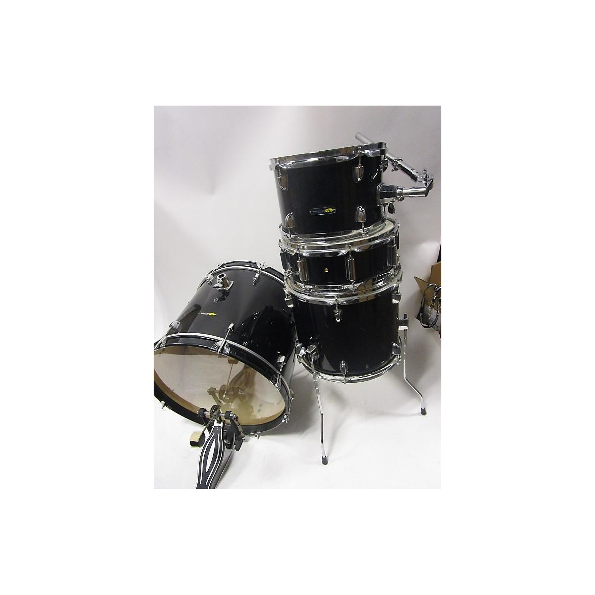 Sound Percussion Labs Sound Percussion 4 Piece SP Black And Silver Drum Kit Black And Silver Drum Kit