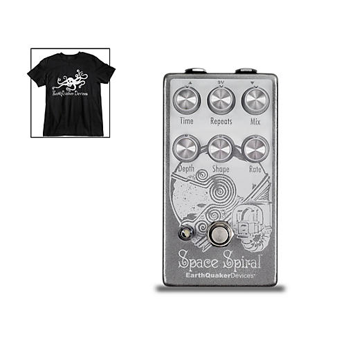 Earthquaker Devices Space Spiral V2 Modulated Delay Effects Pedal and Octoskull T-Shirt Large Black