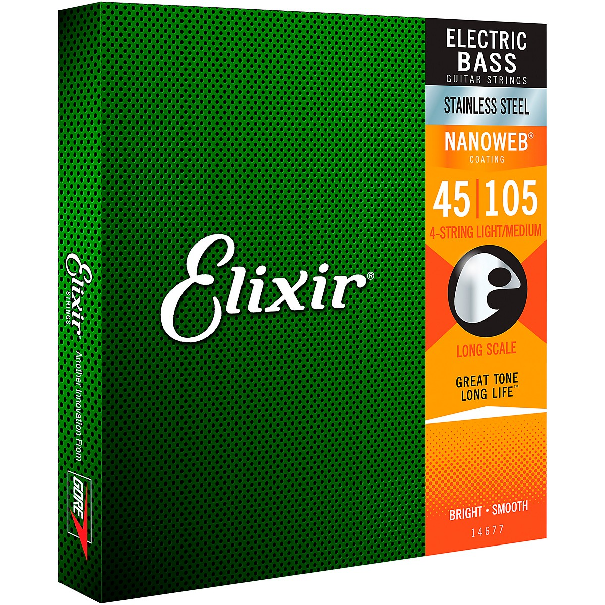 Elixir Stainless Steel 4-String Bass Strings with NANOWEB Coating, Long Scale, Light/Medium (.045-.105)