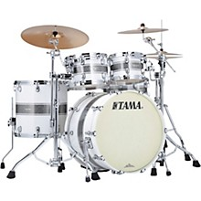 Starclassic Maple 4-Piece Shell Pack with Chrome Hardware and 22 in. Bass Drum Silver Snow Racing Stripe