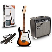 Strat Pack SSS Electric Guitar with Fender Frontman 10G Combo Amplifier Brown Sunburst