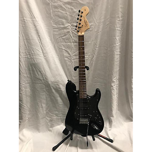 used squier strat solid body electric guitar black guitar center. Black Bedroom Furniture Sets. Home Design Ideas