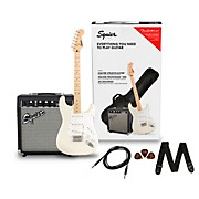 Stratocaster Limited-Edition Electric Guitar Pack with Fender Frontman 10G Amp Olympic White