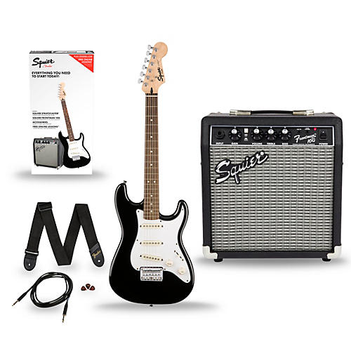 squier stratocaster pack ss short scale electric guitar with fender frontman 10g combo. Black Bedroom Furniture Sets. Home Design Ideas