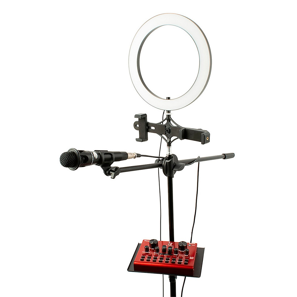 Vocopro Streamer-Live, USB audio interface, condenser microphone, boom stand, and LED ring light package for content creators