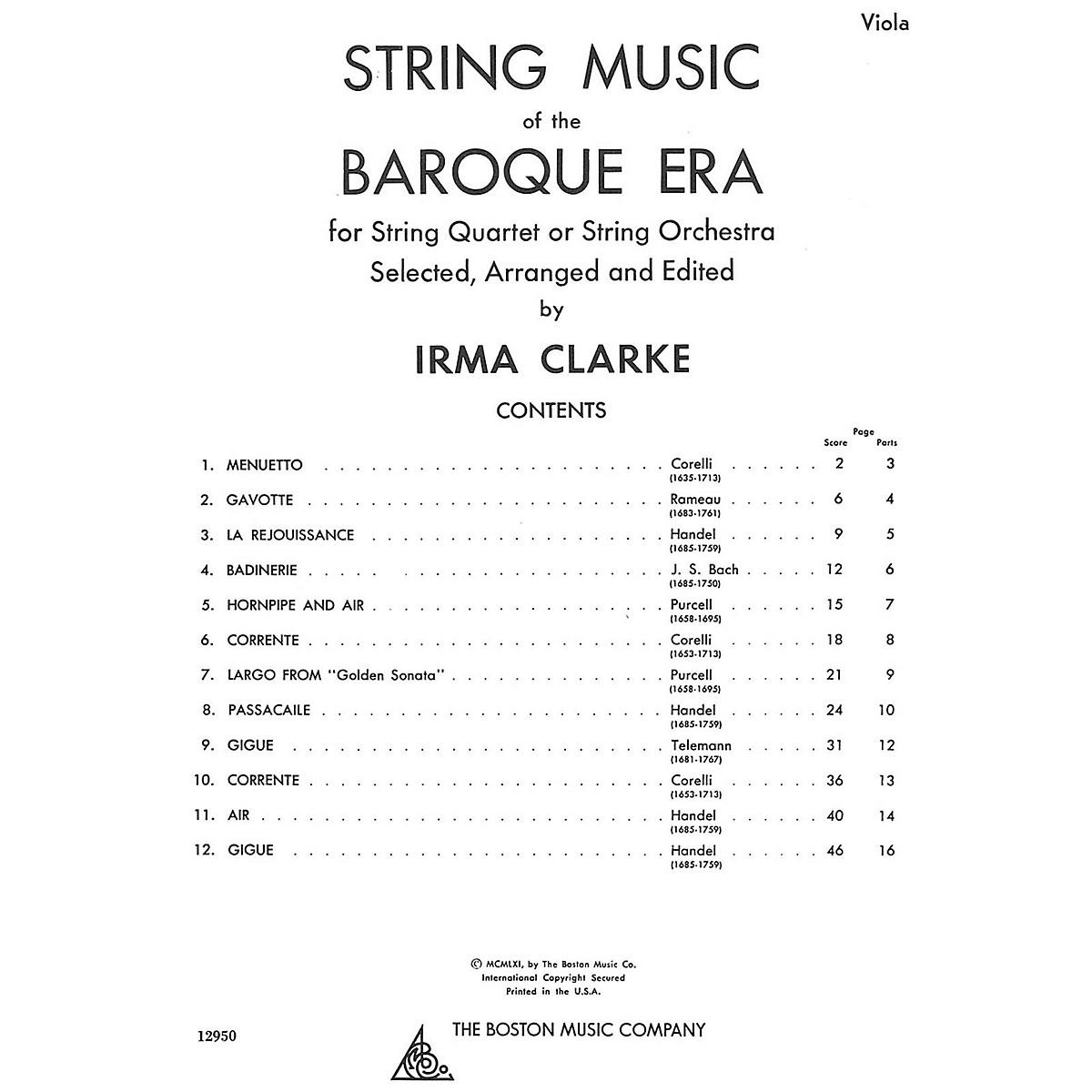 Music Sales String Music Of The Baroque Era - Viola Music Sales America Series