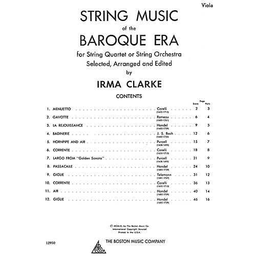 Music Sales String Music Of The Baroque Era - Viola Music Sales America Series