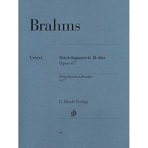 G. Henle Verlag String Quartet in B-flat Major, Op. 67 Henle Music Folios Series Softcover Composed by Johannes Brahms