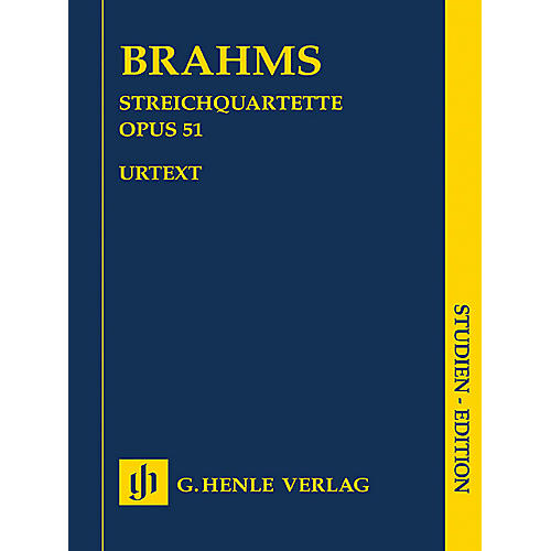 G. Henle Verlag String Quartets, Op. 51 No. 1 in C minor & No. 2 in A minor Henle Study Scores Softcover by Johannes Brahms