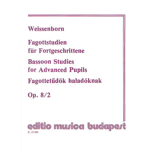 Editio Musica Budapest Studies for Bassoon, Op. 8 - Volume 2 EMB Series by Julius Weissenborn