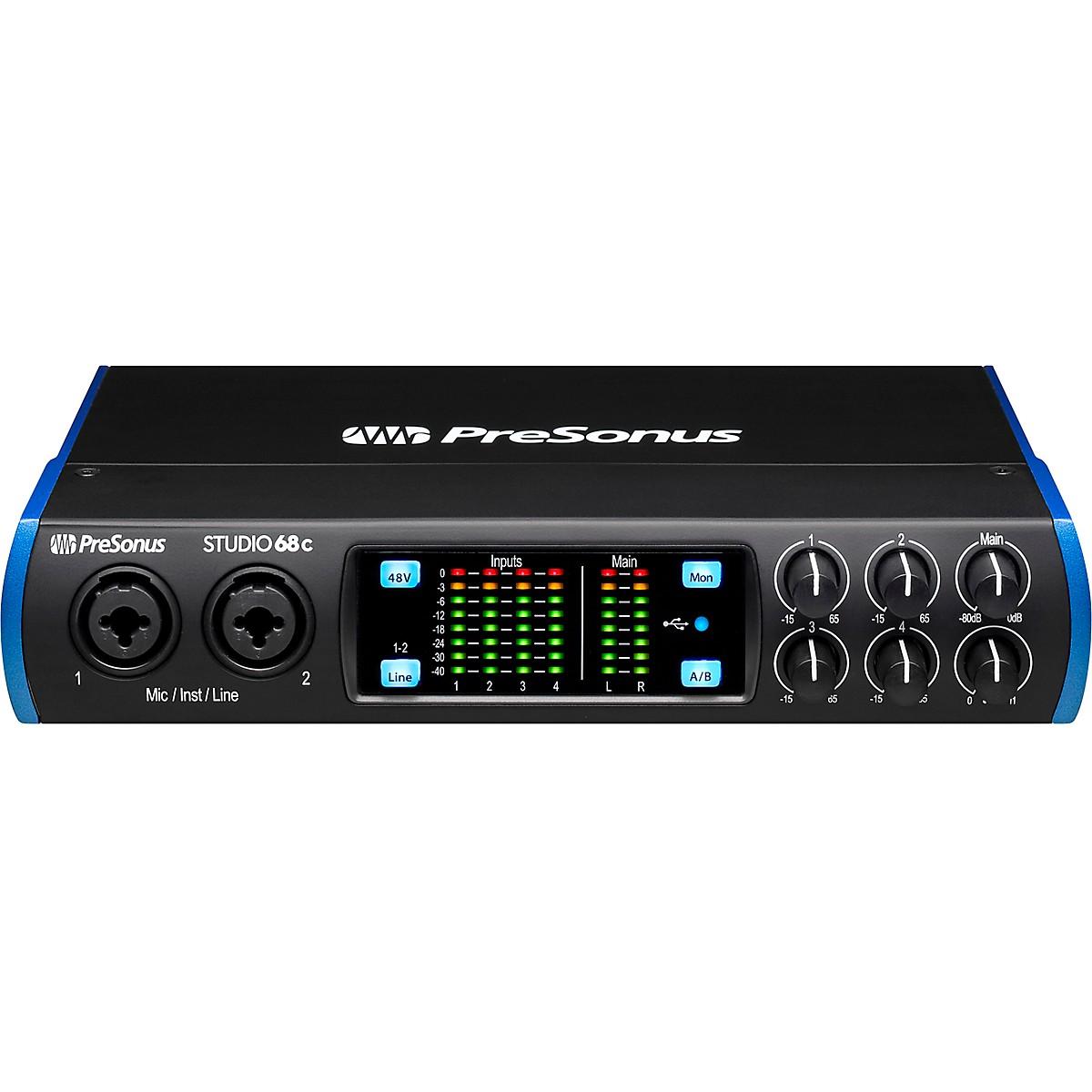 4 XMAX Mic Preamps Presonus STUDIO 68C 6x6 USB-C Audio MIDI Recording Interface