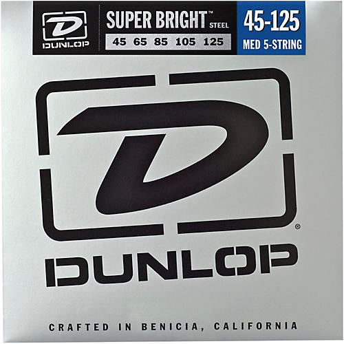 Dunlop Super Bright Steel Medium 5-String Bass Guitar Strings