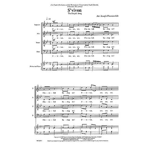 Transcontinental Music S'vivon (Dreidel Spin) (Westminster Conservatory Youth Chorale) SATB arranged by Joseph Flummerfelt