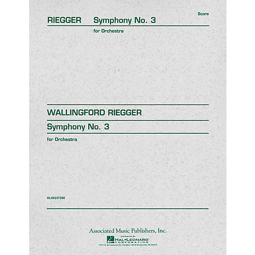 Associated Symphony No. 3, Op. 42 (Study Score) Study Score Series Composed by Wallingford Riegger