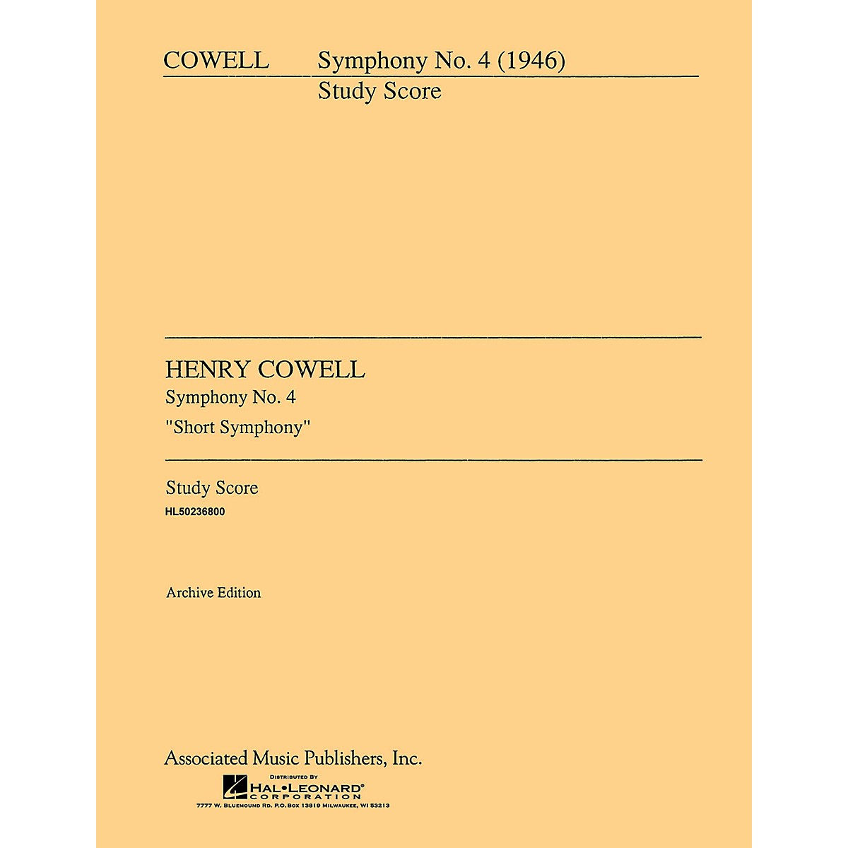 Associated Symphony No. 4 (1946) (Full Score) Study Score Series Composed by Henry Cowell