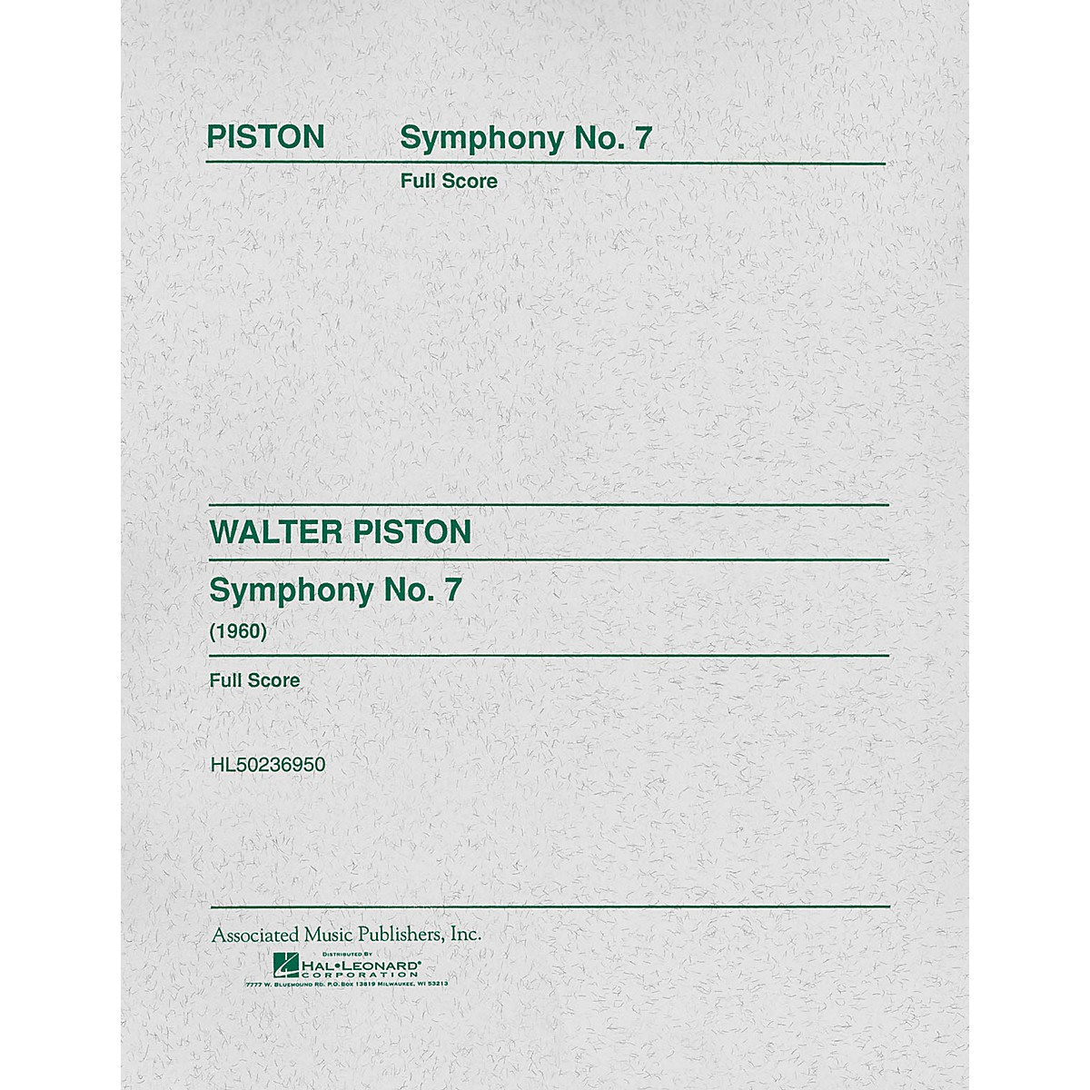 Associated Symphony No. 7 (1960) (Full Score) Study Score Series Composed by Walter Piston