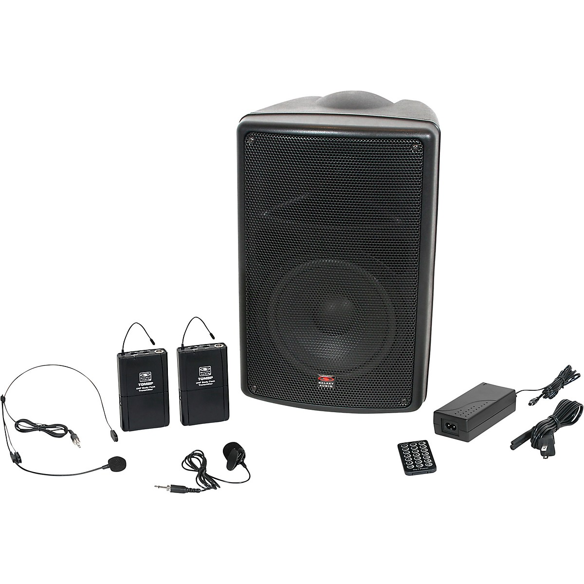 Galaxy Audio TQ8-24SVN Traveler Quest 8 TQ8 Battery Powered PA Speaker System With Two Receivers, One Headset, and One Lavalier Microphone