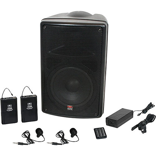Galaxy Audio TQ8-24VVN Traveler Quest 8 TQ8 Battery Powered Portable PA Speaker System With Two Receivers and Two Lav Microphones