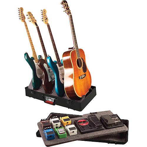 gator tsa gig box guitar stand pedal board holds 3 electric guitars and 1 acoustic guitar. Black Bedroom Furniture Sets. Home Design Ideas